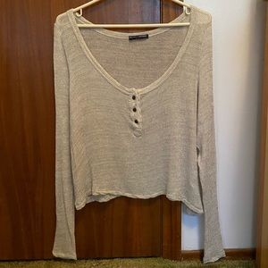 Brandy Melville Brown Knit Buttoned Front Top